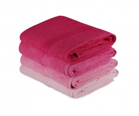 Set 4 kopalniških brisač Rainbow Pink 70x140 cm
