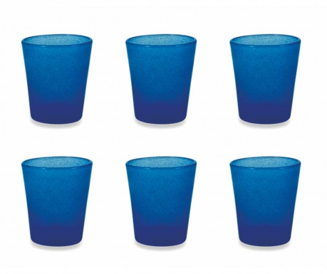 Sada 6 sklenic na vodu Cancun Satin Blue 330 ml