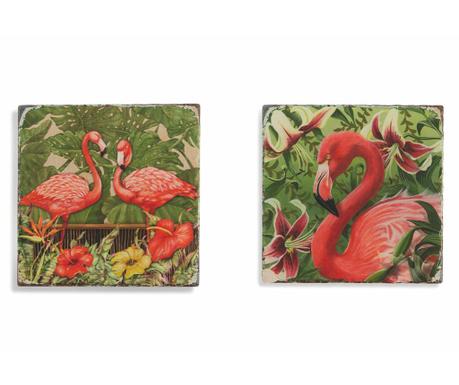 Sada 2 podtácků Flamingo