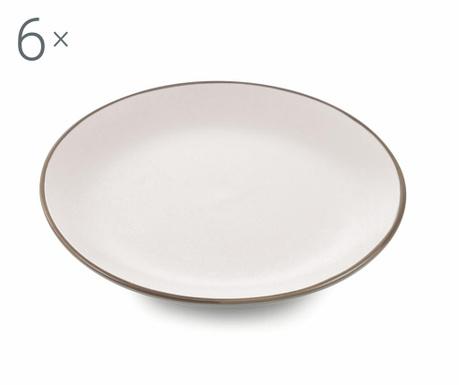 Sada 6 mělkých talířů Kora White