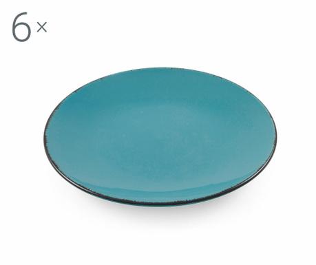 Sada 6 talířů na dezert Baita Turquoise
