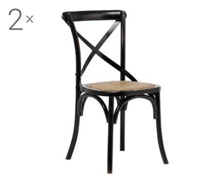 Sada 2 židlí Vintage Black