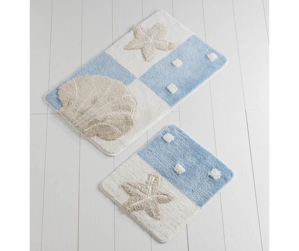 Shell Beach White and Blue 2 db Fürdőszobai szőnyeg