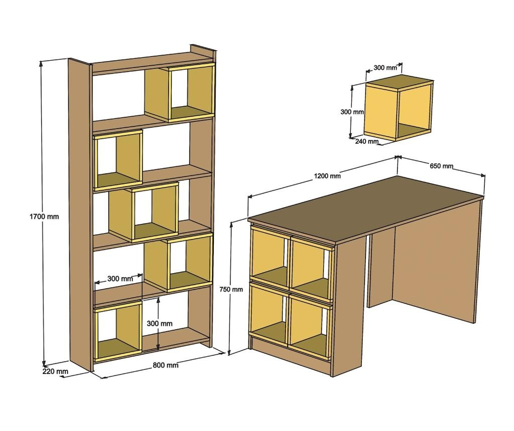 Box Walnut Chalcedony Íróasztal, könyvespolc és fali polc