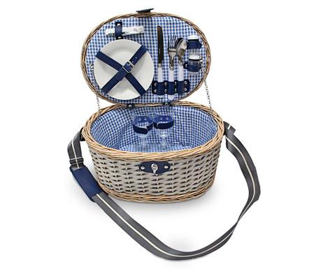 Piknik košara opremljena za 2 osebi Blue Checks