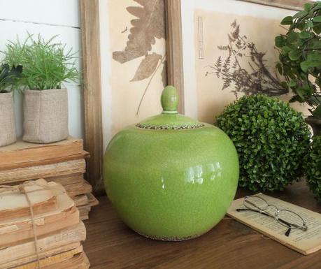 Vas decorativ cu capac Green Antique Round 26 Cm