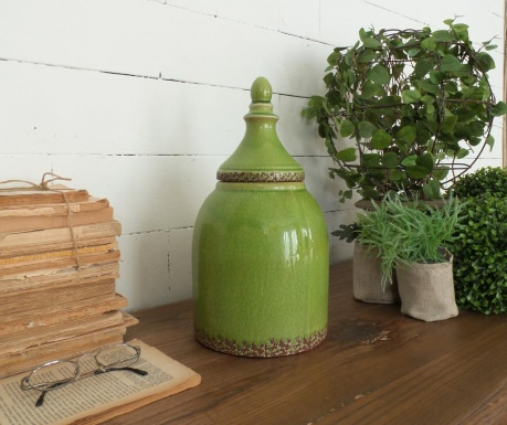 Vas decorativ cu capac Green Antique 36 Cm
