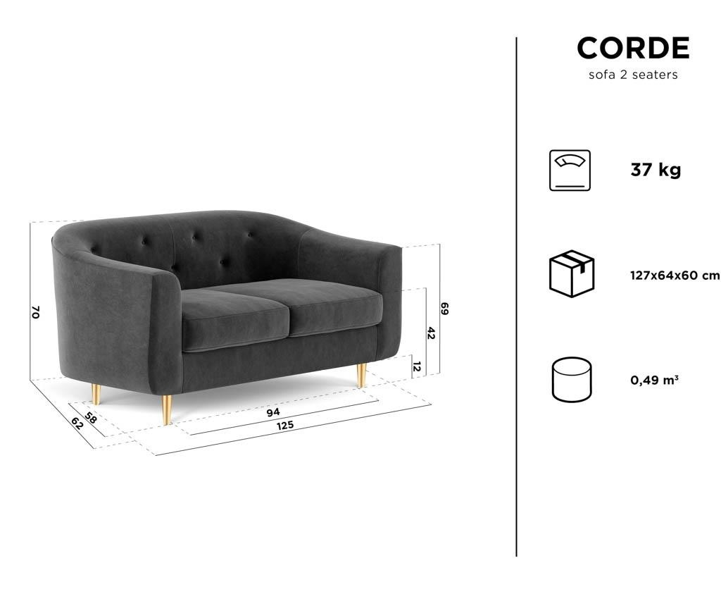 Corde Dark Grey Kétszemélyes szófa