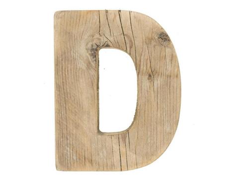 Decoratiune Letter D Natural Wood