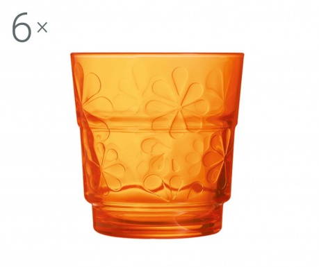 Set 6 kozarcev Funny Flowers Orange 250 ml