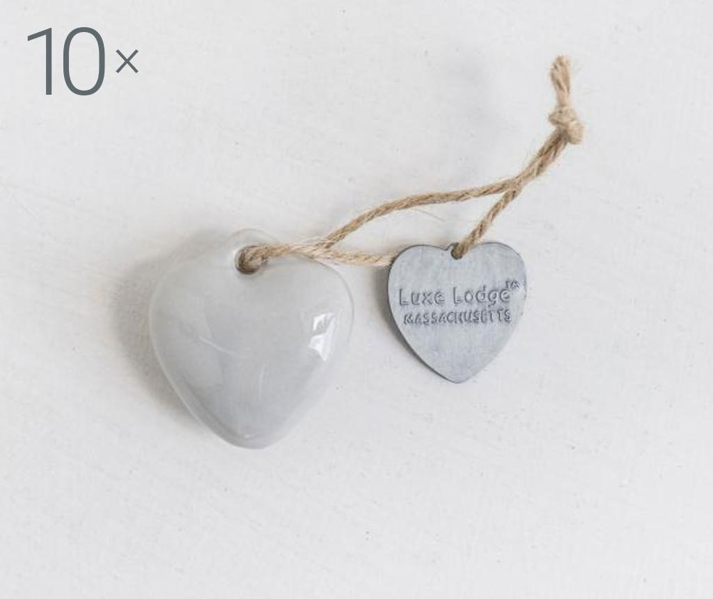 Set 10 decoratiuni suspendabile Heart Grey