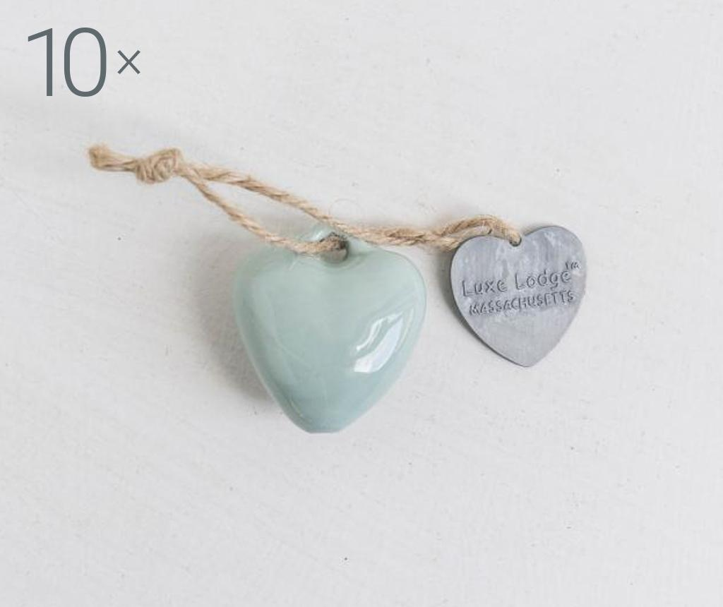 Set 10 decoratiuni suspendabile Heart Mint