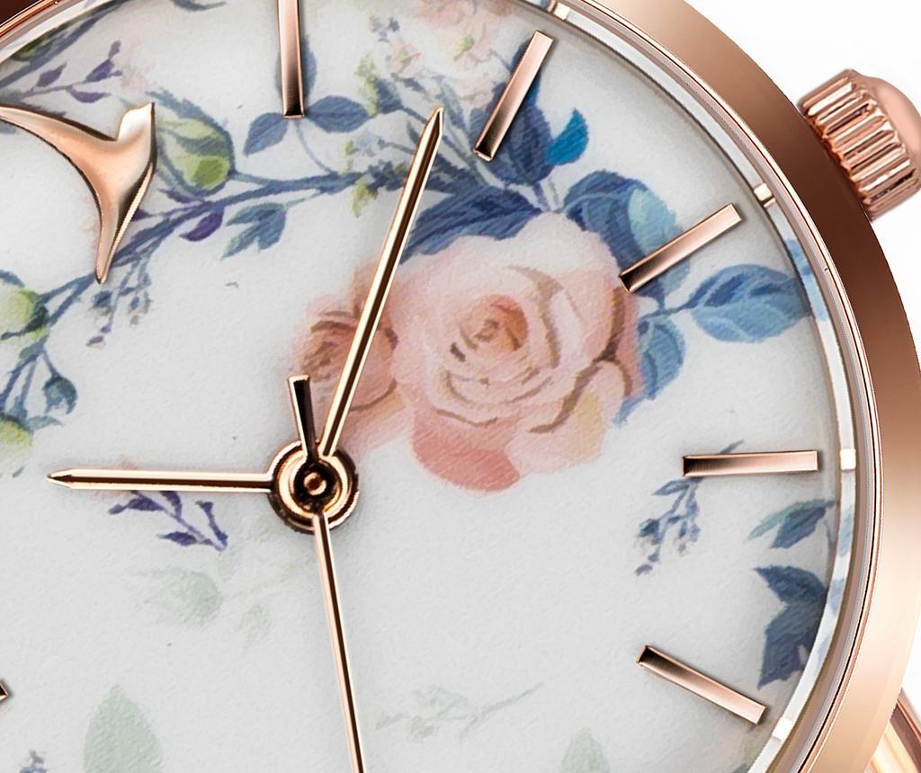 Ženski ručni sat Romantic Floral Rose Pressed Mesh