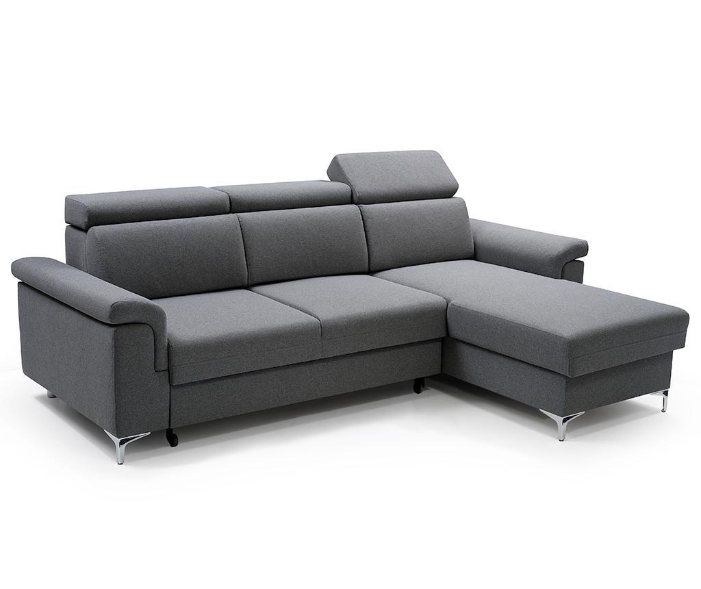 Obojestranska in raztegljiva kotna sedežna garnitura Vermont Dark Grey