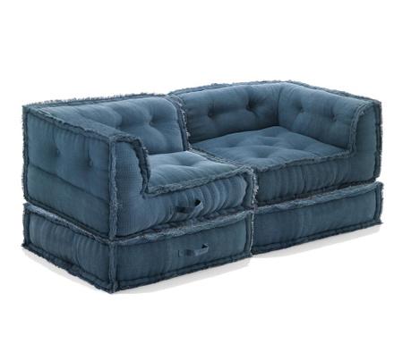 Sada 2 sedacích pufů a 2 podlahových polštářů Mecas Blue