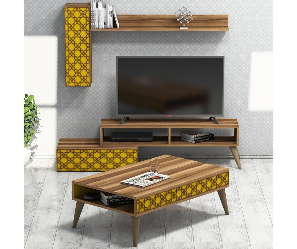 Set 3 piese de mobilier Planet Walnut Yellow