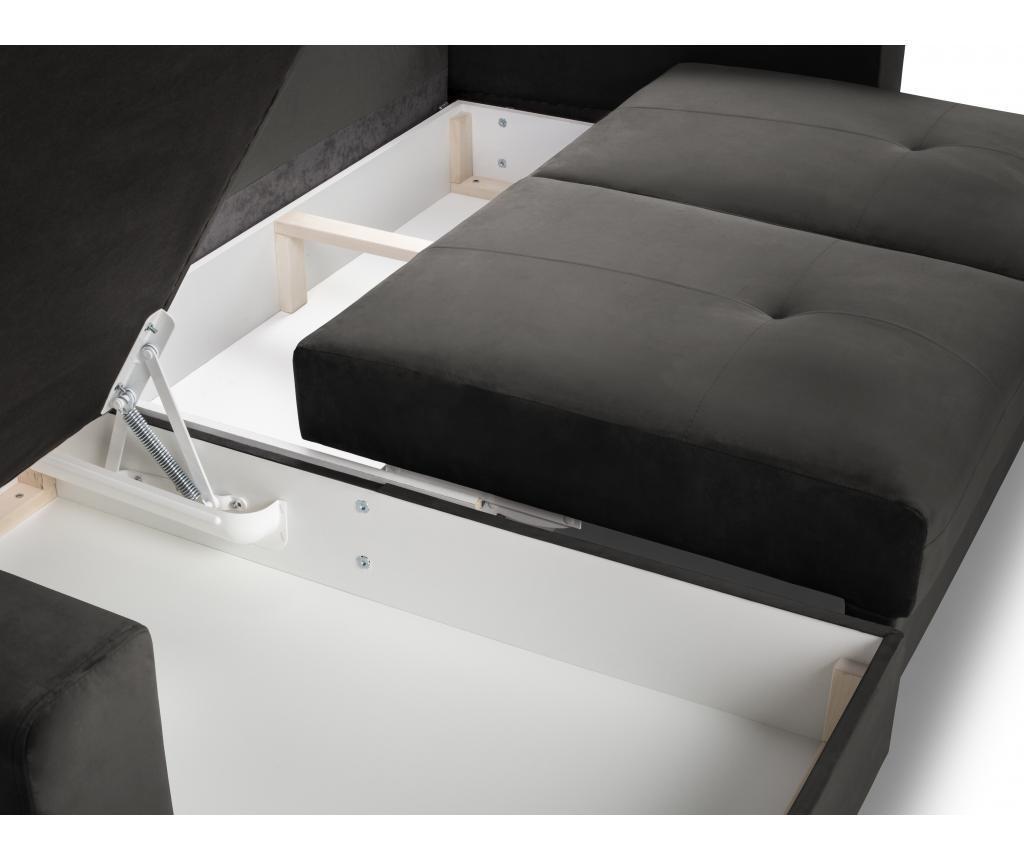 Andante Dark Grey Megfordítható és kihúzható sarokkanapé