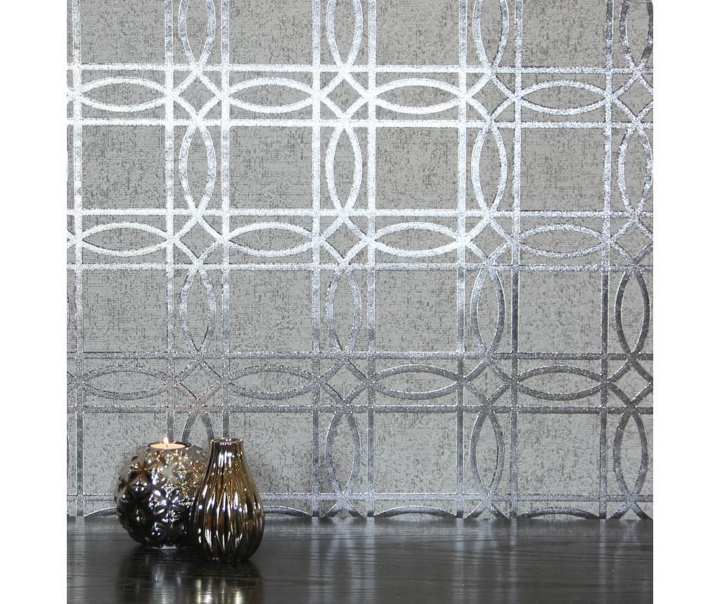 Stenska tapeta Geo Charcoal Grey Kiss Foil 53x1005 cm