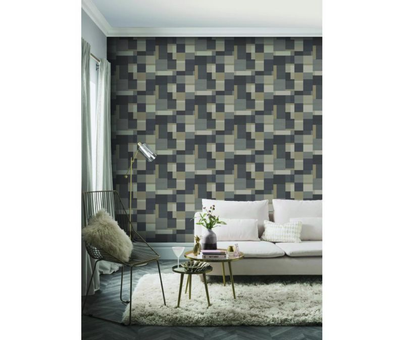 Stenska tapeta Cubico  Multi Charcoal 53x1005 cm