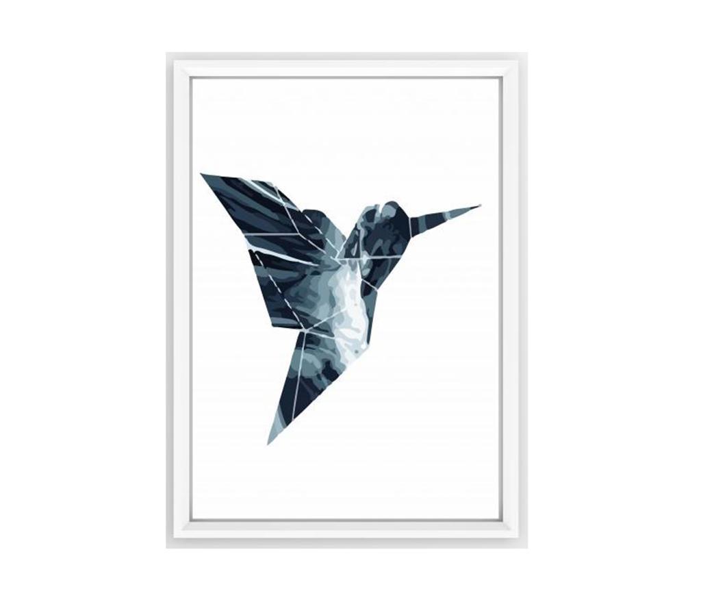 Slika Blue Origami Bird 23x33 cm