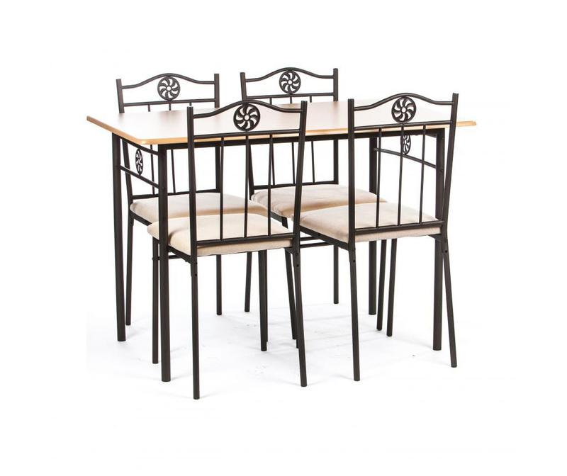 Set masa si 4 scaune pentru exterior Victory Cream