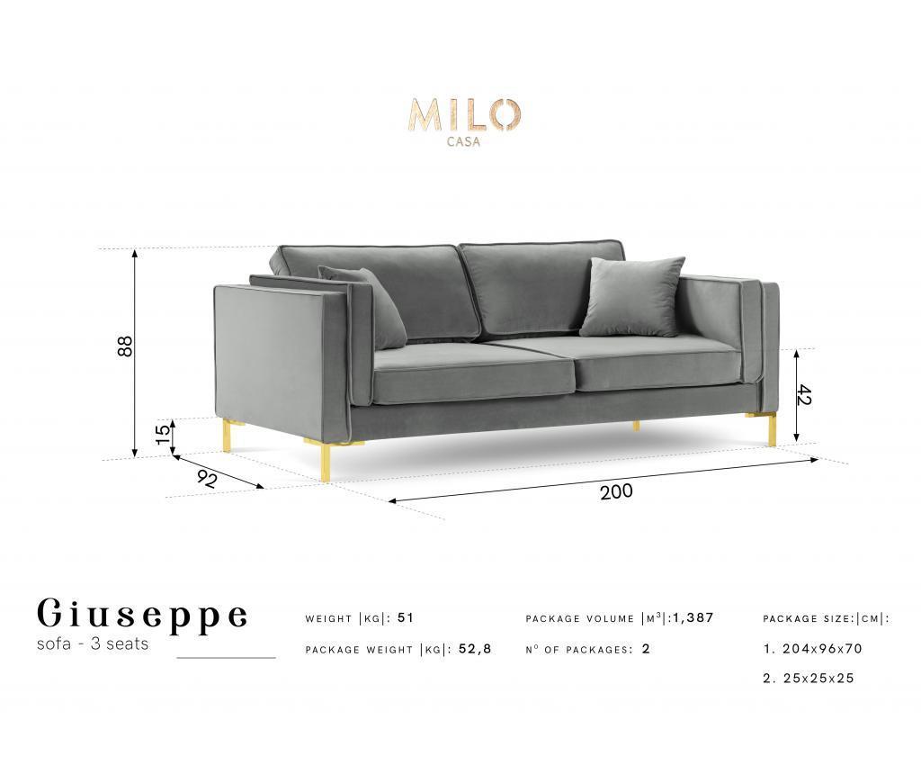 Sofa cu 3 locuri Giuseppe Bottle Green