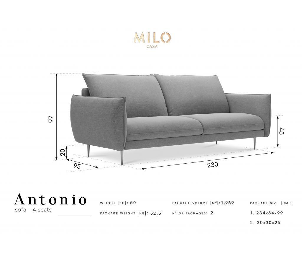 Sofa cu 4 locuri Antonio Light Blue