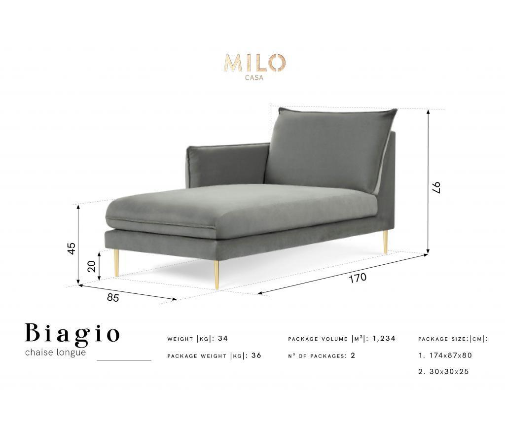Sezlong living stanga Biagio Grey