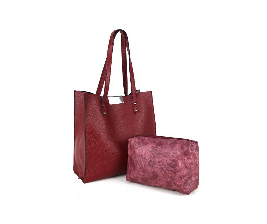 Set geanta si portfard Polonation Maroon