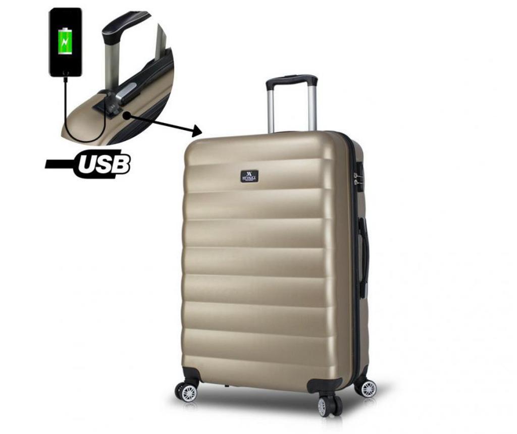 Valiza cu port USB Colors Gold L