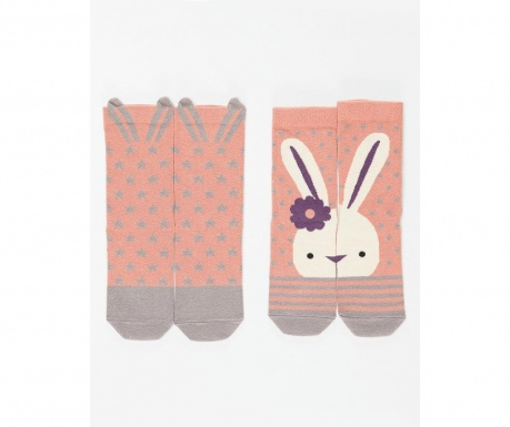 Set 2 perechi de sosete copii Bunny&Stars 2-3 ani