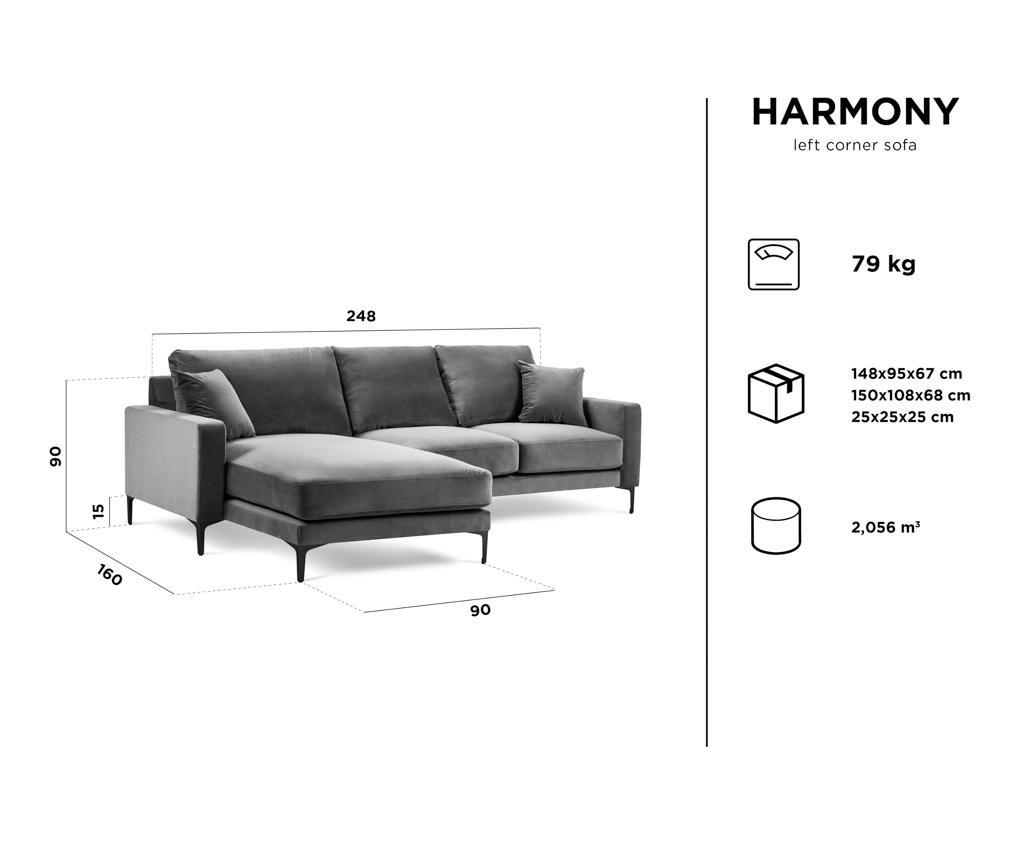 Ljeva kutna sofa četvorosjed Harmony Dark Blue