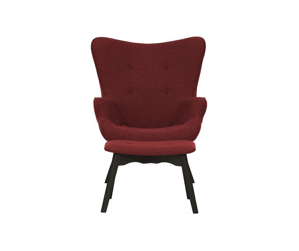 Zestaw fotel z podnóżkiem Ducon Dark Malmo Red