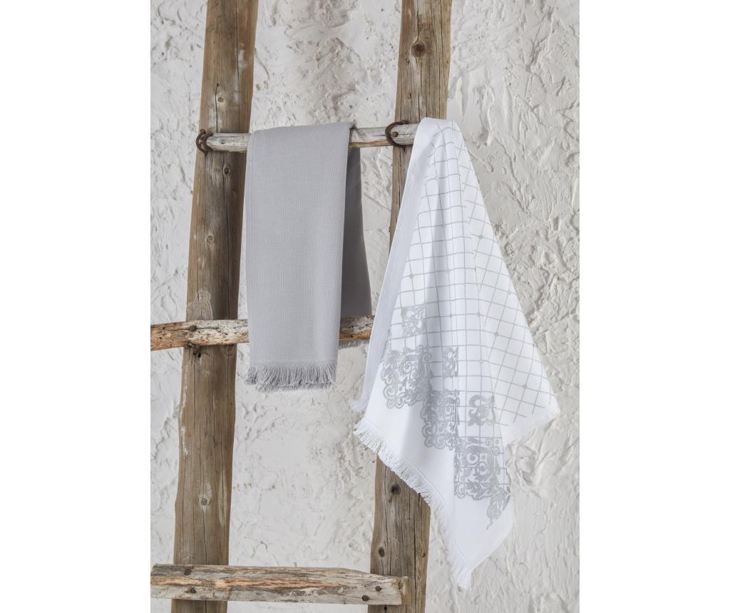 Set 2 kuhinjska ručnika Erva White Grey 45x65 cm