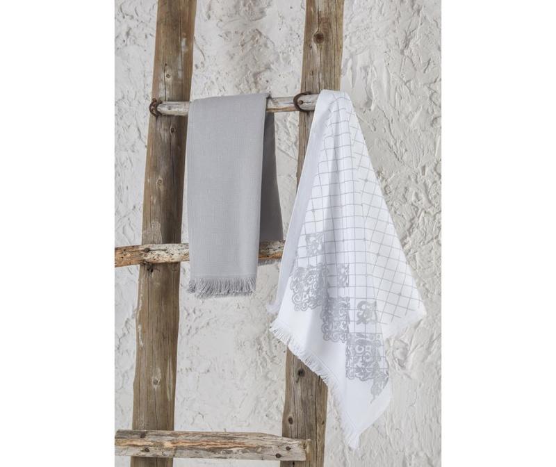 Sada 2 kuchyňských utěrek Erva White Grey 45x65 cm