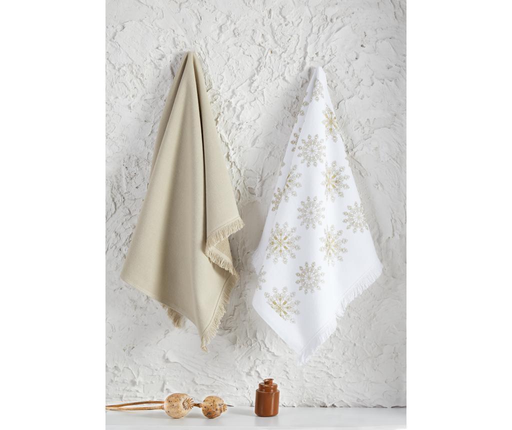 Set 2 kuhinjska ručnika Snowy White Beige 45x65 cm