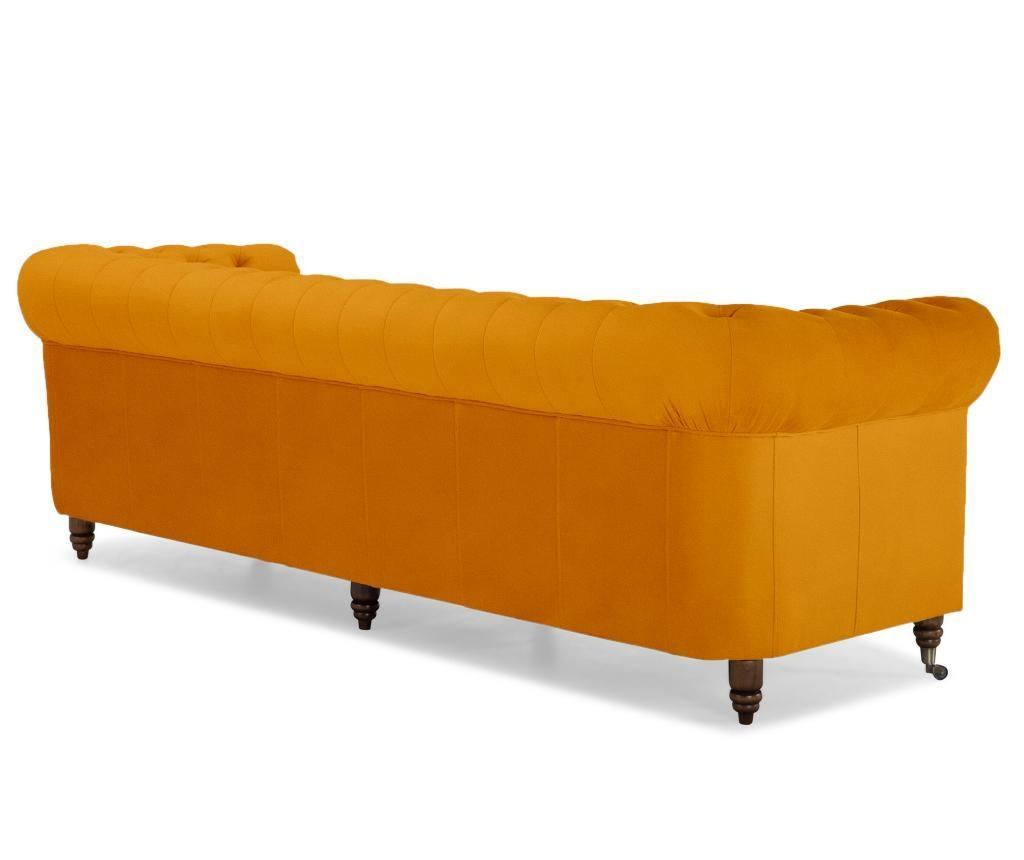 Chesterfield Yellow Velvet Négyszemélyes kanapé