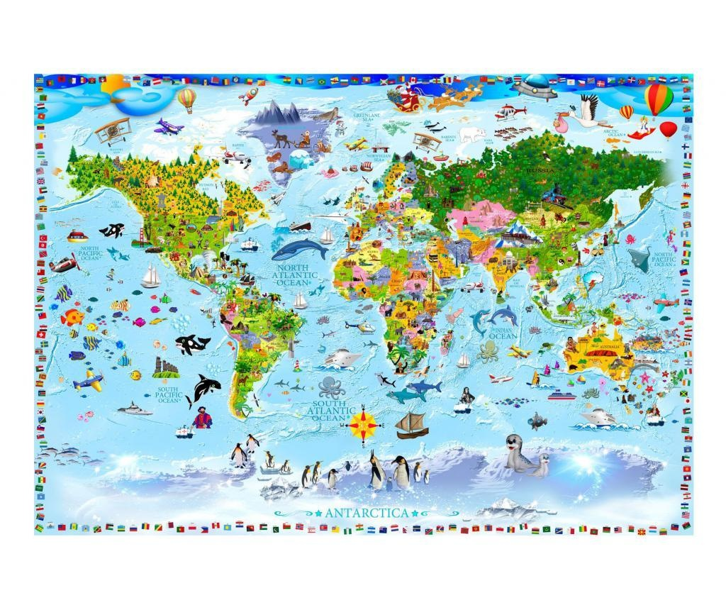 World Map For Kids Fotótapéta 280x400 cm