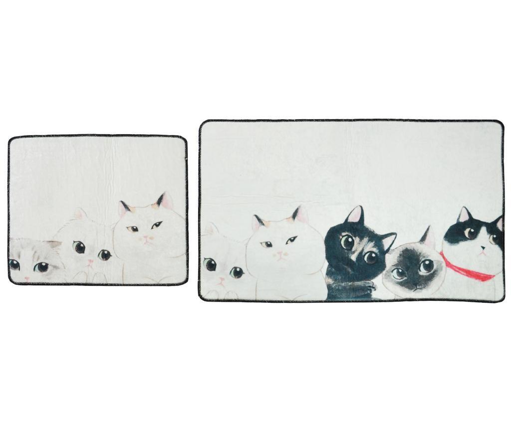 Set 2 covorase de baie Curious Cats