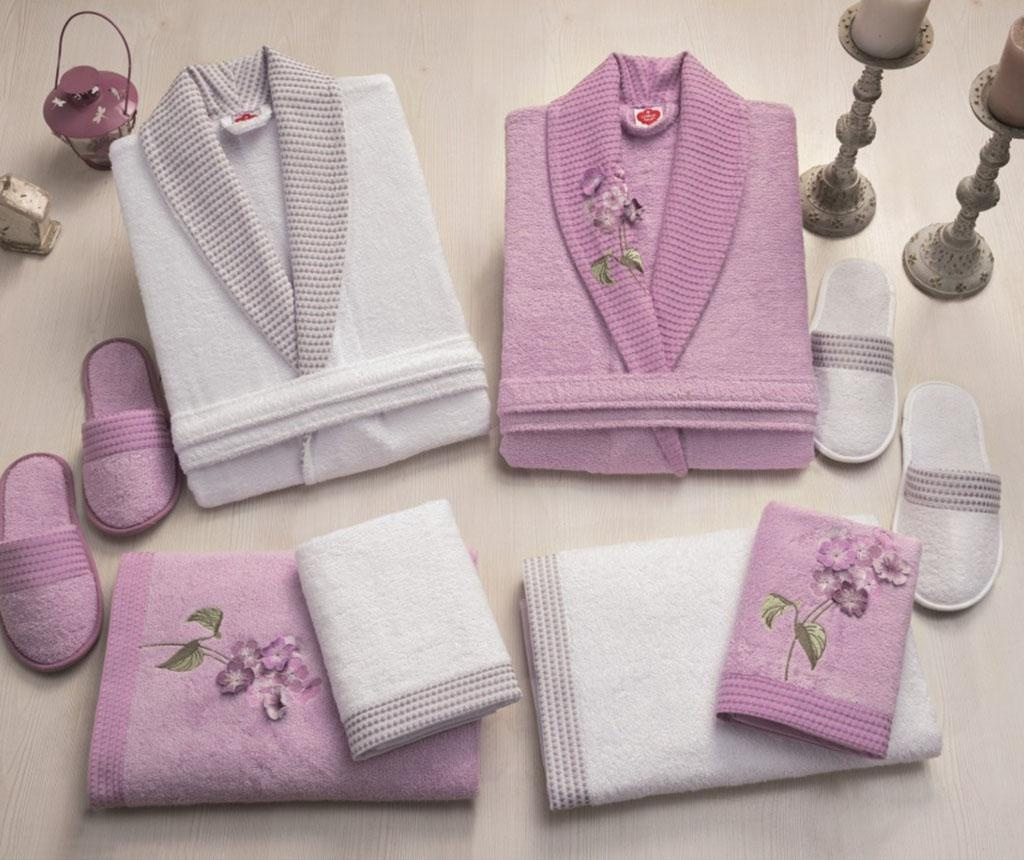 Family Flower Lilac & White 8 db Fürdőszobai kiegészítő