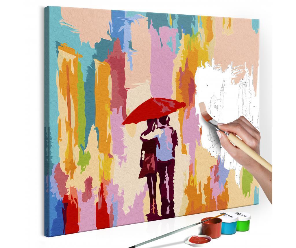 Couple Under An Umbrella (Pink Background) DIY kanavász kép 45x45 cm