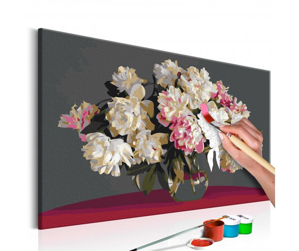 Kit tablou canvas DIY dupa numere White Flowers In A Vase 40x60 cm
