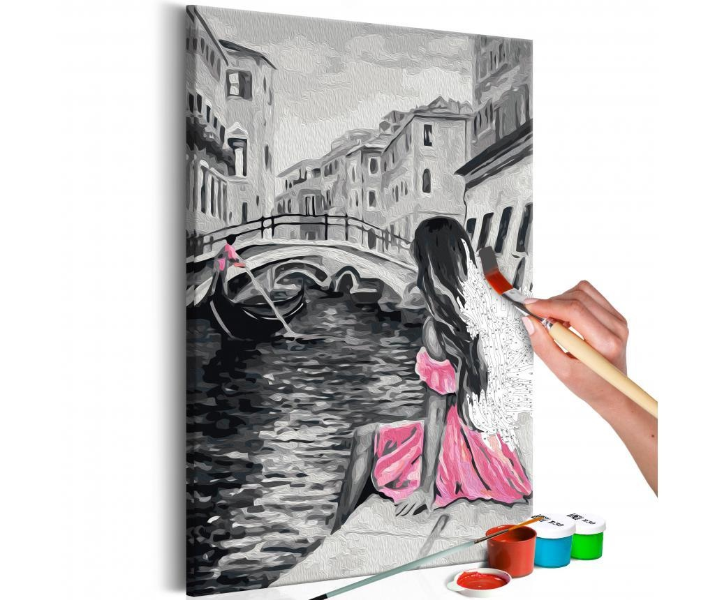 Kit tablou canvas DIY dupa numere Venice (A Girl In A Pink Dress) 40x60 cm