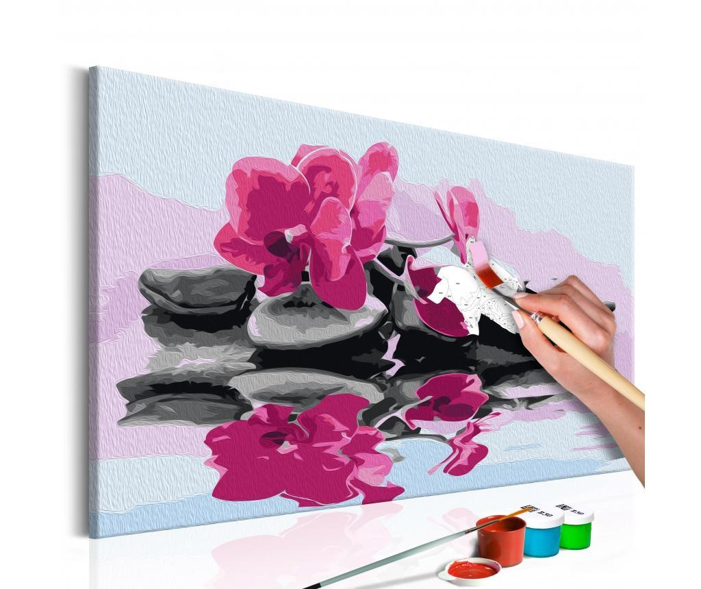 Kit tablou canvas DIY dupa numere Orchid With Zen Stones (Reflection In The Water) 40x60 cm