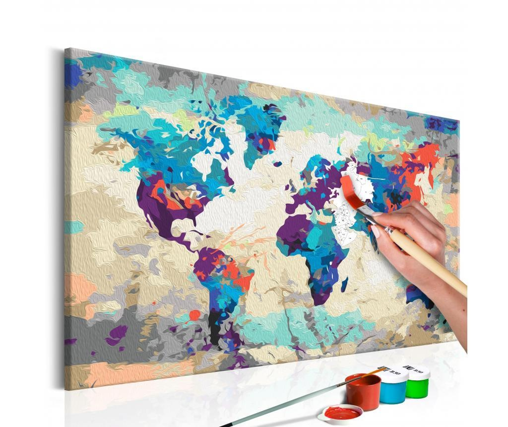 Kit tablou canvas DIY dupa numere World Map (Blue & Red) 40x60 cm