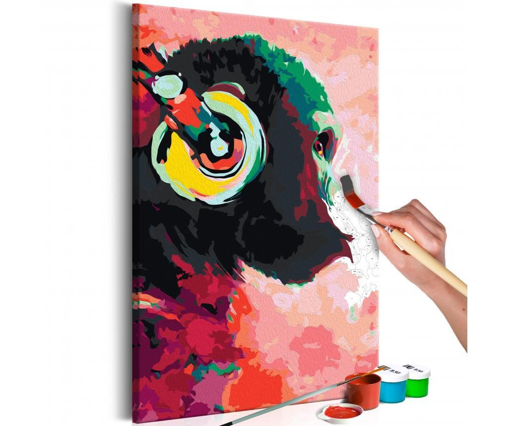 Kit tablou canvas DIY dupa numere Monkey In Headphones 40x60 cm