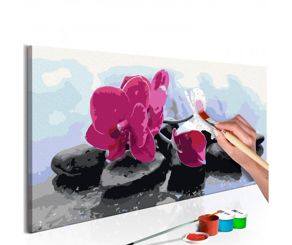 Kit tablou canvas DIY dupa numere Orchid With Zen Stones 40x80 cm