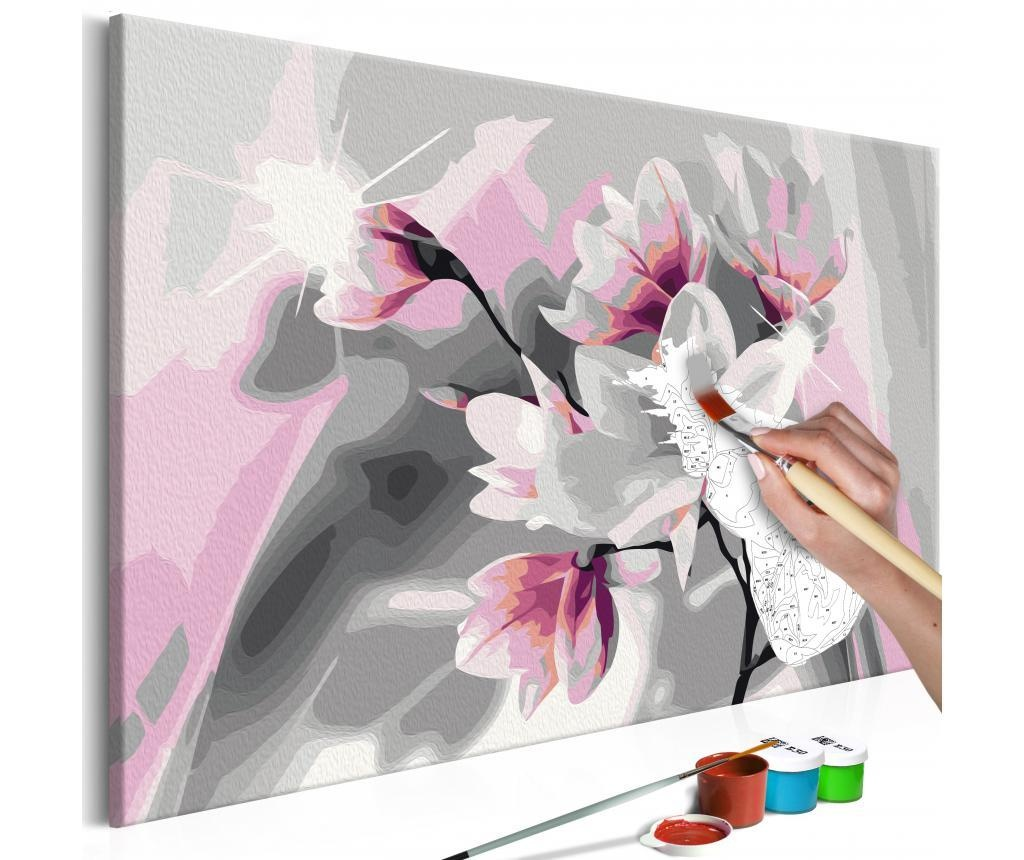 Kit tablou canvas DIY dupa numere Magnolia (Grey Background) 40x60 cm