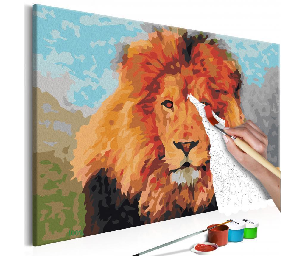 Kit tablou canvas DIY dupa numere Lion 40x60 cm