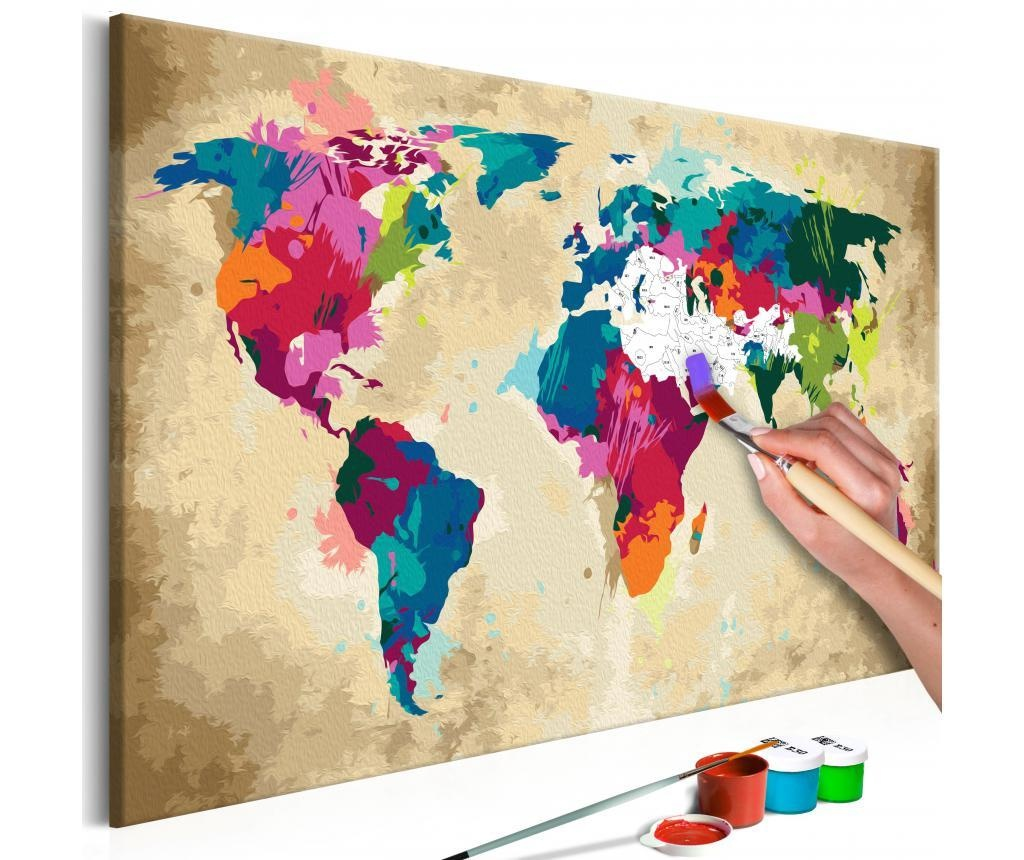 World Map (Colourful) DIY kanavász kép 40x60 cm
